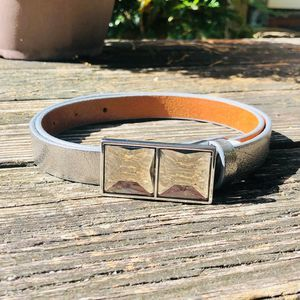 Banana Republic Jewel Buckle Leather Silver Belt S